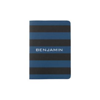 Rayures de rugby de bleu marine et de noir avec le protège-passeports