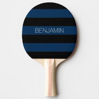 Rayures de rugby de bleu marine et de noir avec le raquette tennis de table