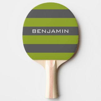 Rayures de rugby de vert et de gris de chaux avec raquette tennis de table