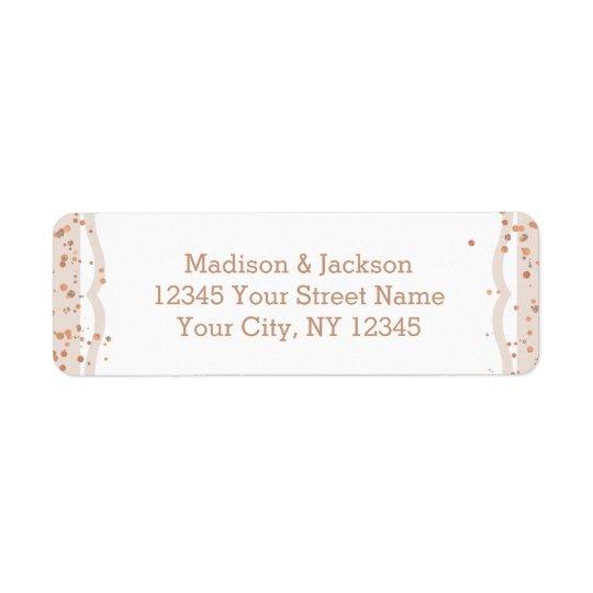 Rayures de sable et or rose épousant l'adresse de étiquette d'adresse retour