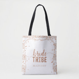 Rayures de sable et tribu rose de jeune mariée de tote bag
