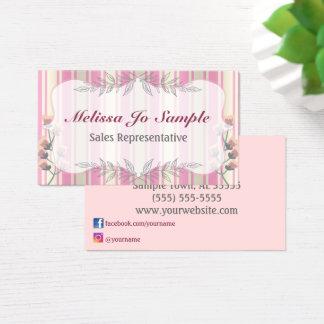 Rayures de satin de beauté et moderne floral cartes de visite
