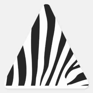Rayures de zèbre dans le motif noir et blanc sticker triangulaire