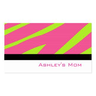 Rayures de zèbre de rose de télécarte de maman carte de visite standard