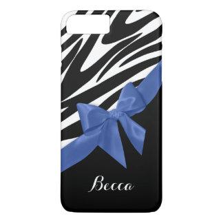 Rayures de zèbre et arc bleu avec le nom coque iPhone 8 plus/7 plus