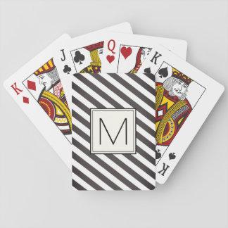 Rayures diagonales avec le carré de monogramme jeu de cartes