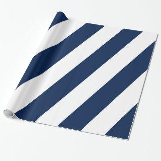 Rayures diagonales bleues et blanches papiers cadeaux