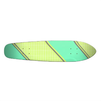 Rayures diagonales bleues jaunes modernes skateboard old school  21,6 cm