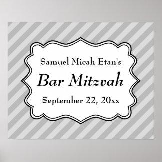 Rayures diagonales dans la barre grise Mitzvah Posters