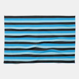 Rayures en pastel bleues, noires et de turquoise serviettes éponge