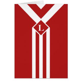 Rayures et chevrons blancs sur le rouge avec le carte de vœux