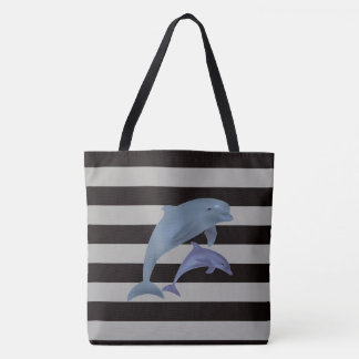 Rayures et dauphins tote bag