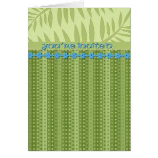 Rayures et feuillage de vert d'herbe carte de vœux
