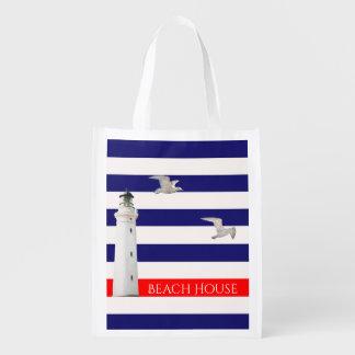 Rayures et phare nautiques blancs bleus d'été sac réutilisable