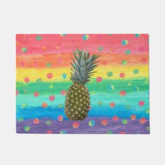 Rayures et taches modernes d'aquarelle d'ananas paillasson