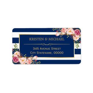 Rayures florales roses chiques de bleu marine d'or étiquette d'adresse