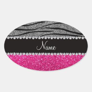 Rayures gris-clair de zèbre de scintillement rose sticker ovale