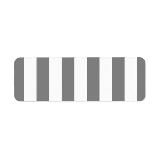 Rayures grises et blanches étiquette d'adresse retour