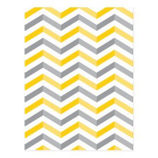 Rayures grises et jaunes de Chevron Carte Postale