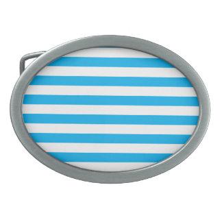 Rayures horizontales bleues boucles de ceinture ovales