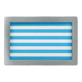Rayures horizontales bleues boucles de ceinture rectangulaires