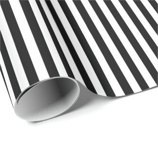 Rayures horizontales larges noires et blanches à papier cadeau