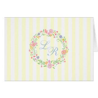 Rayures jaune-clair florales de guirlande et de cartes