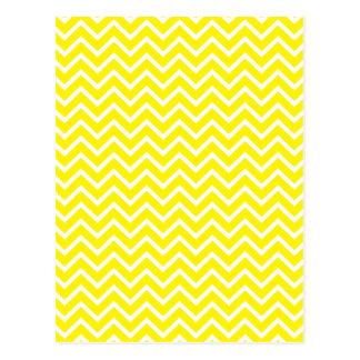 Rayures jaunes de zigzag de Chevron Carte Postale
