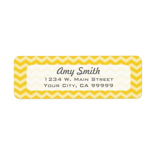 Rayures jaunes simples de zigzag étiquette d'adresse retour