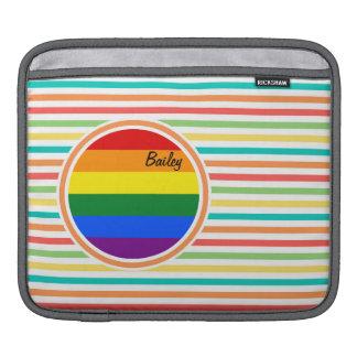 Rayures lumineuses d arc-en-ciel drapeau de LGBT Poches Pour iPad