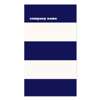 Rayures modernes de bleu marine et de blanc de carte de visite standard