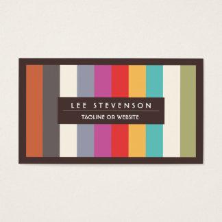 Rayures multi colorées de rétro amusement barrées cartes de visite