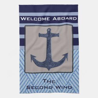 Rayures nautiques de bleu marine d'ancre et serviettes pour les mains