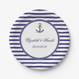 Rayures nautiques élégantes de marine de mariage assiettes en papier