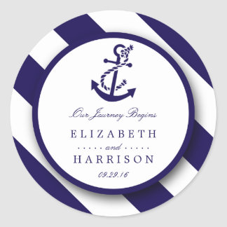 Rayures nautiques et mariage d'ancre de bleu sticker rond