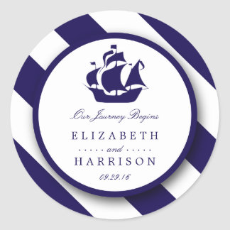 Rayures nautiques et mariage de bateau de bleu sticker rond