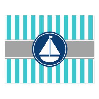 Rayures nautiques turquoises de voilier de cartes postales
