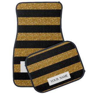 Rayures noires de charme avec le scintillement tapis de voiture