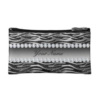 Rayures noires de zèbre d'aluminium de Faux sur Petite Trousse De Maquillage