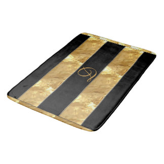 Rayures noires d'or tapis de bain