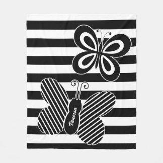 Rayures noires et blanches à la mode de papillon
