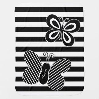Rayures noires et blanches à la mode de papillon couverture de bébé