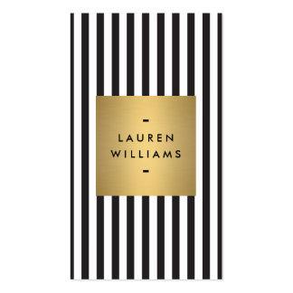 Rayures noires et blanches audacieuses Luxe avec Carte De Visite Standard