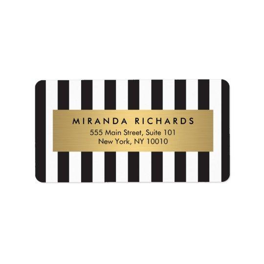Rayures noires et blanches audacieuses Luxe avec Étiquette D'adresse
