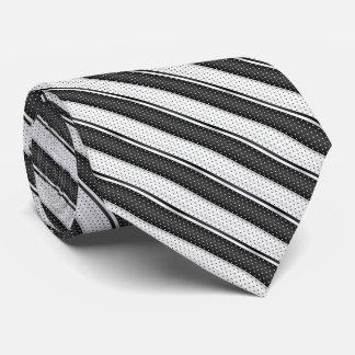 Rayures noires et blanches de point de polka cravate