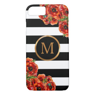 Rayures noires et blanches, monogramme floral coque iPhone 7