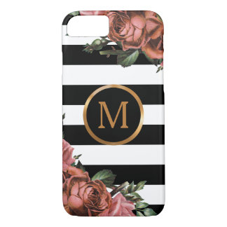 Rayures noires et blanches, monogramme floral coque iPhone 8/7
