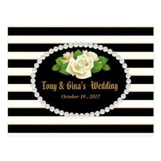 Rayures noires et bouquet rose épousant RSVP Cartes Postales