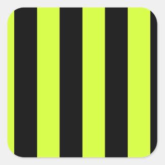 Rayures - noires et jaune fluorescent sticker carré