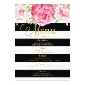 Rayures noires florales d'aquarelle rose épousant carton d'invitation  12,7 cm x 17,78 cm